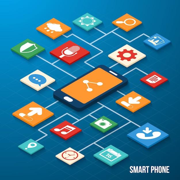 モバイルアプリケーションの等尺性のアイコン Premiumベクター
