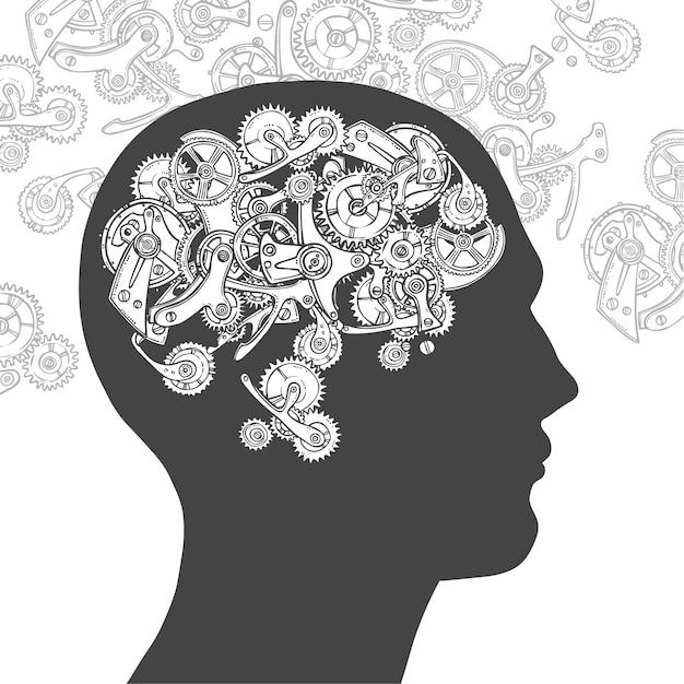 Снасти голову мыслящего человека Бесплатные векторы