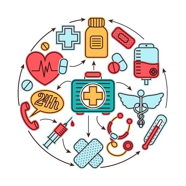Концепция медицинских элементов Premium векторы