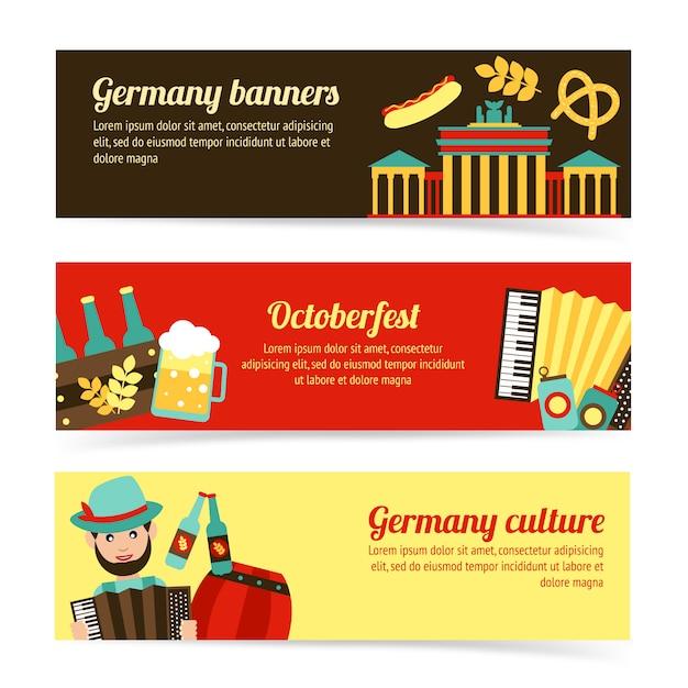 Набор шаблонов баннеров путешествия германии Premium векторы