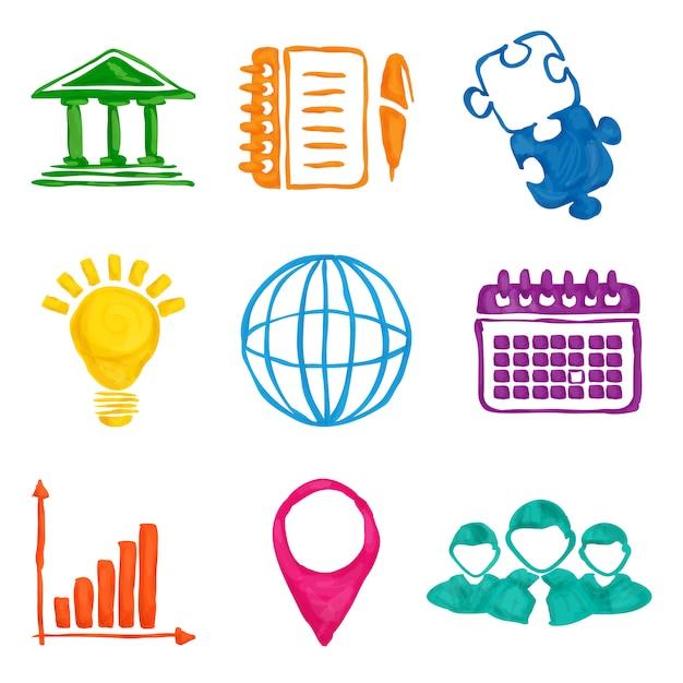 Раскрась бизнес иконы Бесплатные векторы