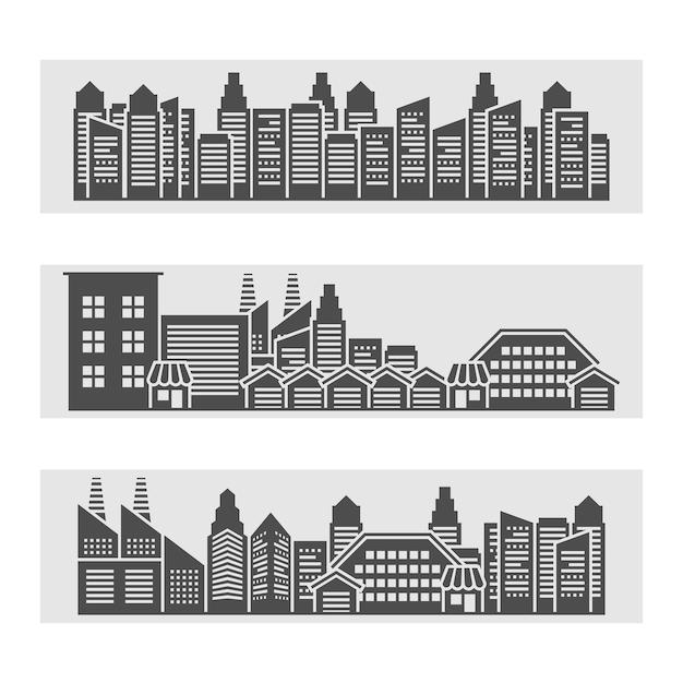 都市の景観バナー 無料ベクター