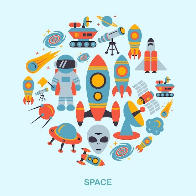 Космические элементы плоские Бесплатные векторы