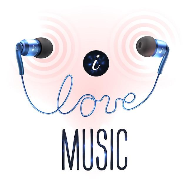 愛のレタリングとヘッドフォン Premiumベクター