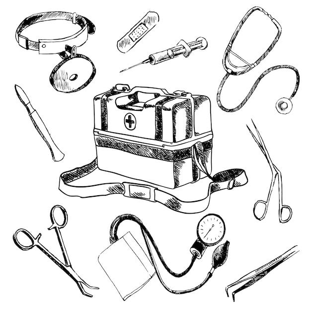 Комплект элементов эскиза доктора медицинских принадлежностей Premium векторы