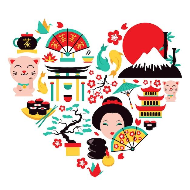 日本のシンボルの心 Premiumベクター