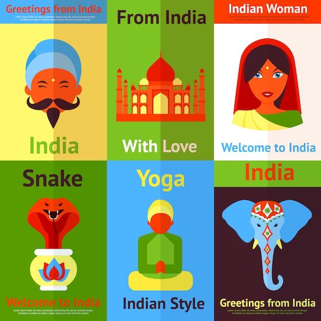 インドのミニポスター Premiumベクター