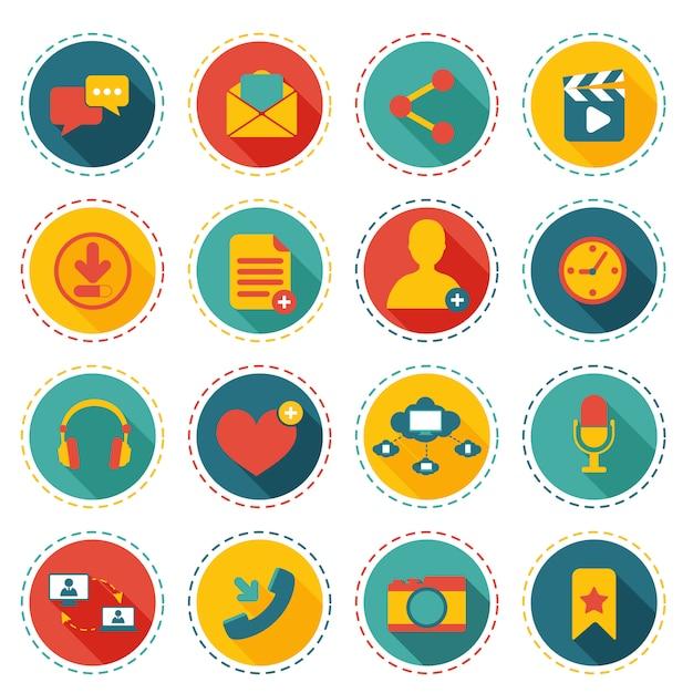 ソーシャルネットワークのアイコン Premiumベクター