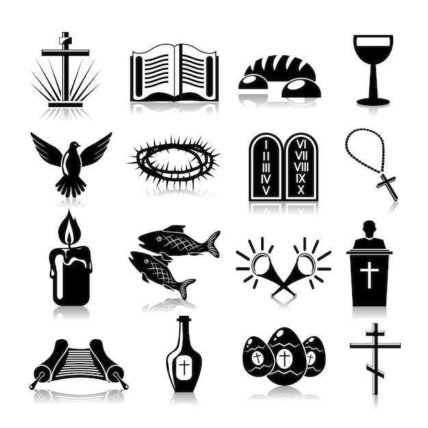 キリスト教のアイコンセットブラック Premiumベクター