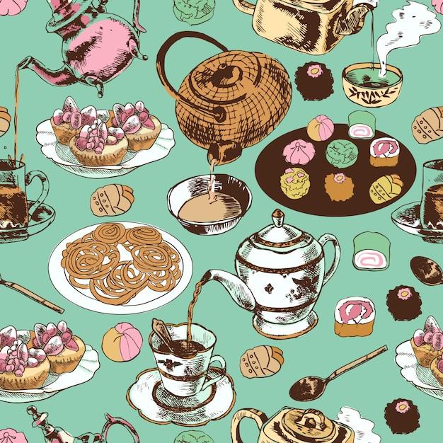 古典的な東洋インド茶時間儀式セラミックポット茶碗受け皿カップケーキラップ紙のシームレスなパターンベクトル図 Premiumベクター