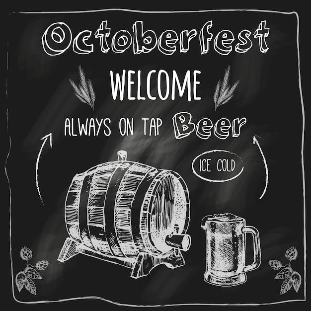 Октоберфест ледяной свежий дубовый бочонок вкус пива с бесплатными закусками рекламы доске эскиз векторные иллюстрации Premium векторы