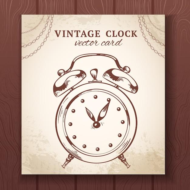 古いビンテージレトロなスケッチ目覚まし時計紙カードベクトルイラスト 無料ベクター
