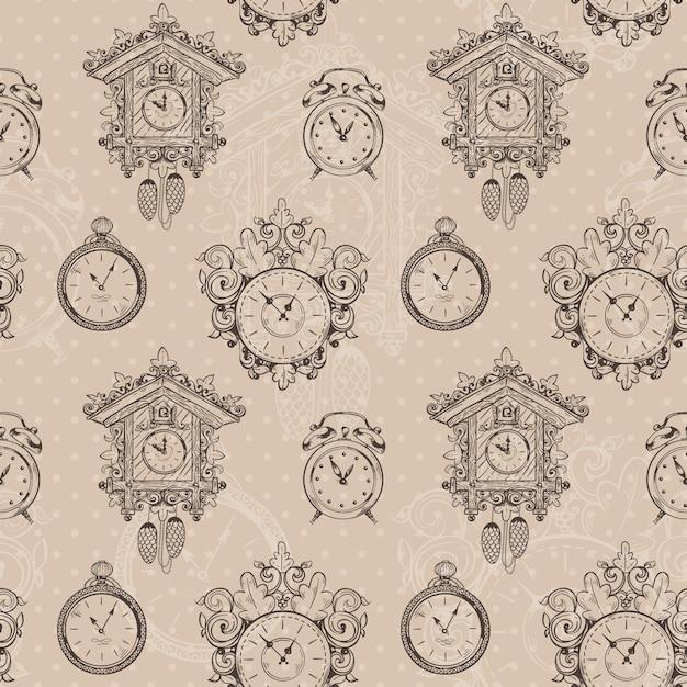Старые старинные часы и секундомер эскиз бесшовные векторные иллюстрации Premium векторы