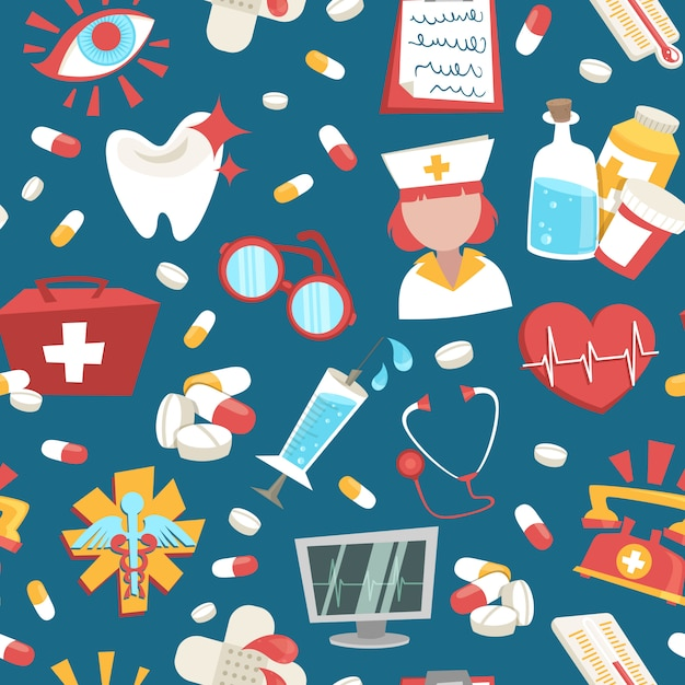 病院医療ヘルスケア緊急支援のシームレスパターンベクトル図 無料ベクター