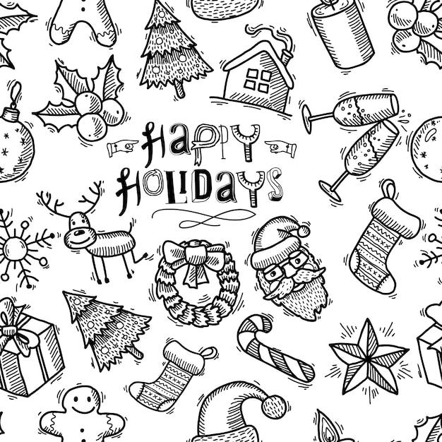 Рождество бесшовные модели в стиле каракули Бесплатные векторы