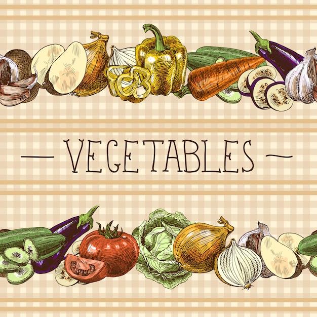 野菜のシームレスパターン 無料ベクター