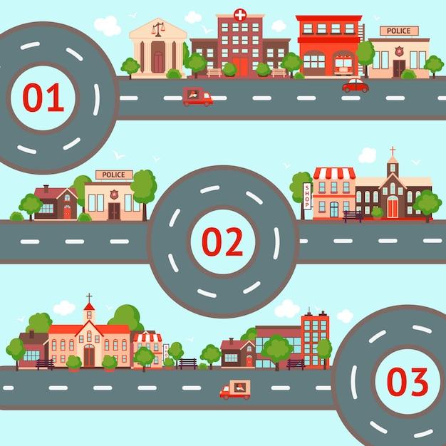 Набор городской инфографики иллюстрации Бесплатные векторы