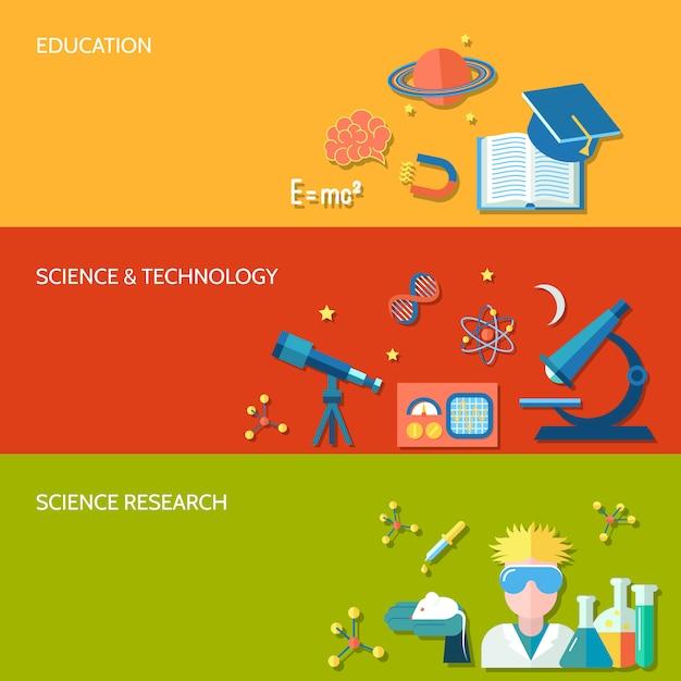 科学技術水平方向のバナー設定教育技術分離ベクトルイラスト Premiumベクター