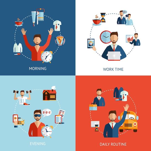 Значки концепции ежедневной рутины бизнесмена плоские Бесплатные векторы