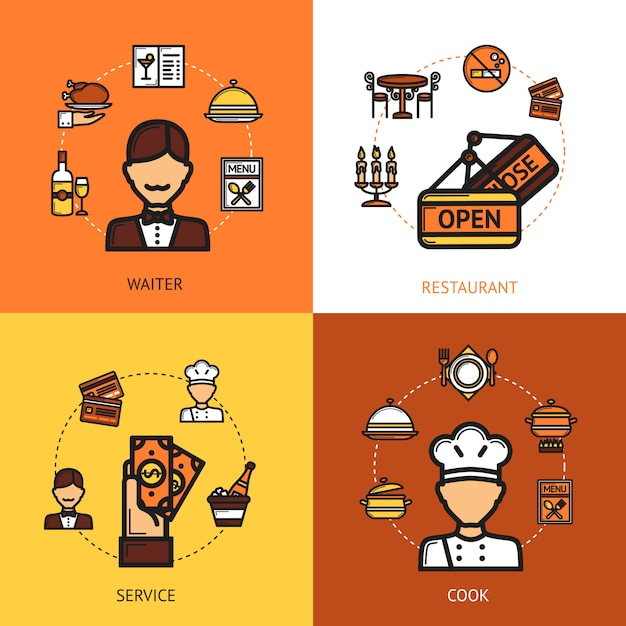 レストランデザインコンセプト 無料ベクター