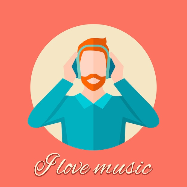 音楽を聴く男 無料ベクター
