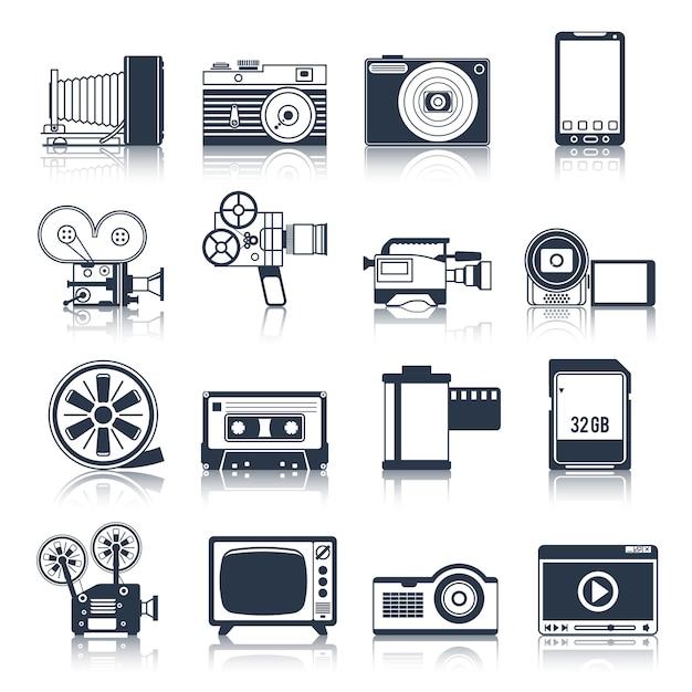 写真ビデオのアイコンセットブラック Premiumベクター