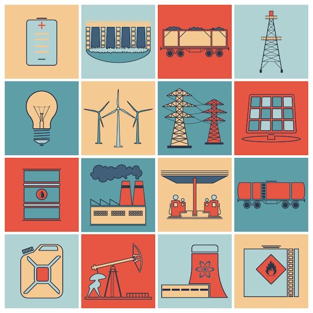 エネルギーアイコンフラットラインセット Premiumベクター