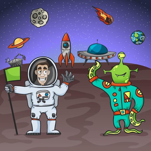 宇宙飛行士とエイリアン Premiumベクター