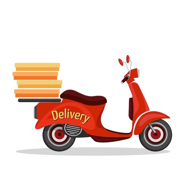 Ретро скутер значок службы быстрой доставки на белом фоне векторные иллюстрации Premium векторы