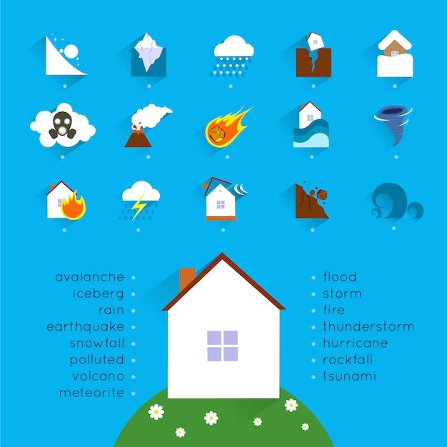 Концепция аварии стихийного бедствия с иконами опасности и дом векторные иллюстрации Premium векторы