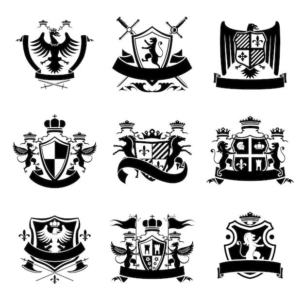 Геральдические эмблемы черные Premium векторы