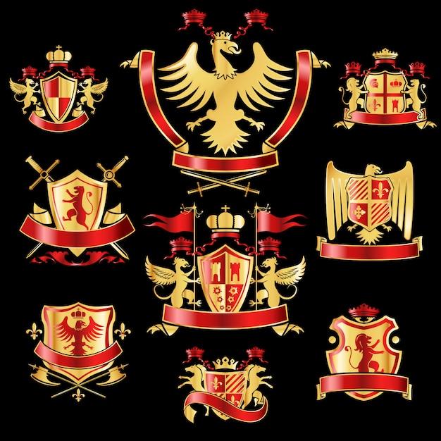 紋章入りの記章は金と赤の色を設定 Premiumベクター