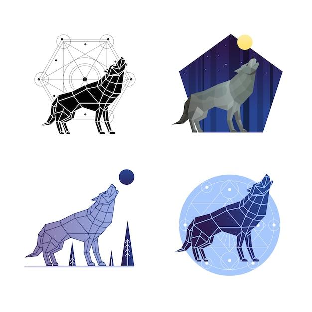 Набор воющего волка Бесплатные векторы