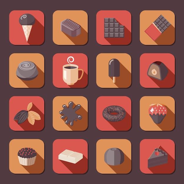 Установленные значки фондю какао очень вкусного торта шоколада плоские изолировали иллюстрацию вектора. Premium векторы