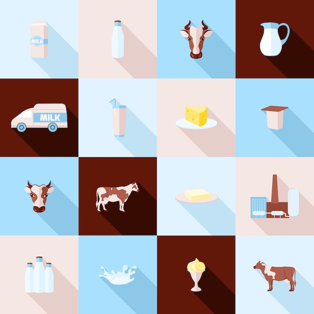 Набор иконок молока Бесплатные векторы
