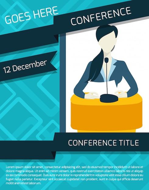 Шаблон объявления конференции Бесплатные векторы