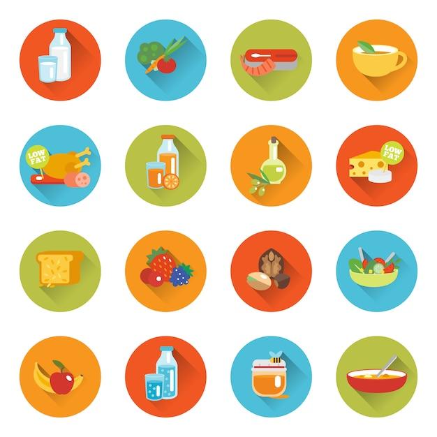 Здоровое питание плоские иконки Premium векторы