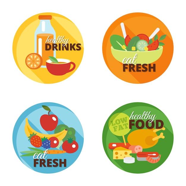 健康的な食事のフラットアイコン 無料ベクター