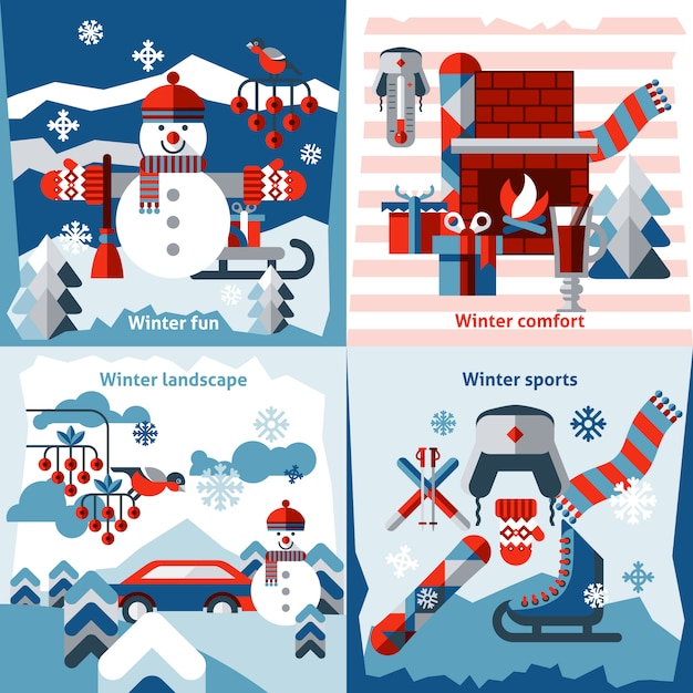 冬の平らな要素構成セット 無料ベクター