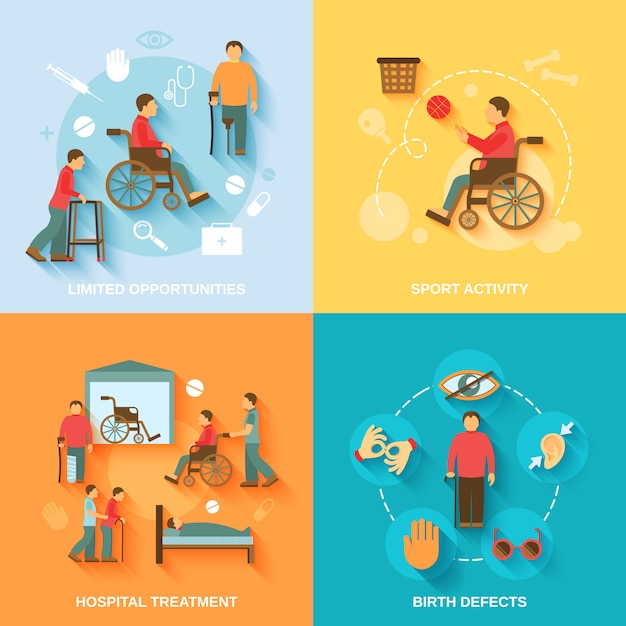 車椅子のキャラクターと要素構成フラットを無効に 無料ベクター