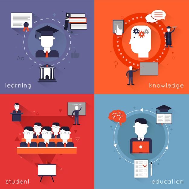 高等教育の文字と要素構成学習知識学生分離ベクトルイラスト入り 無料ベクター