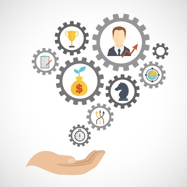 事業戦略計画要素構成フラット 無料ベクター