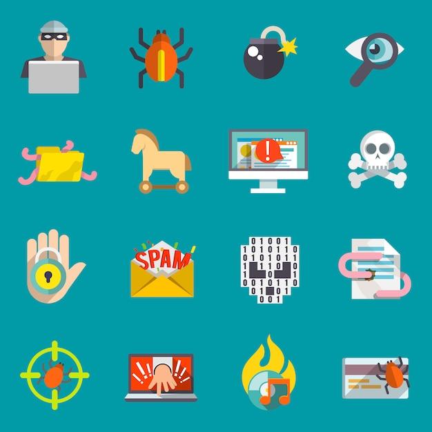 Хакер иконки плоский набор Бесплатные векторы
