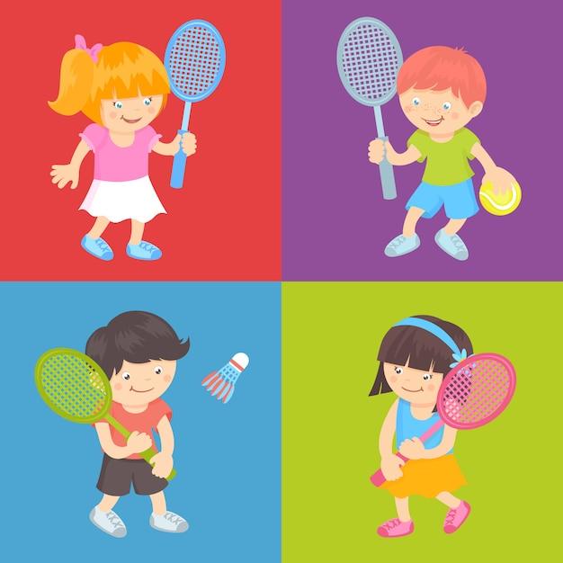 テニスをする子供たち 無料ベクター