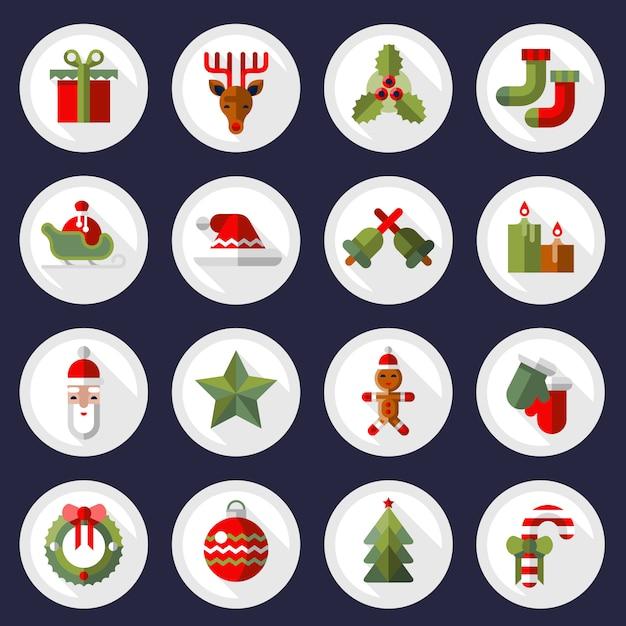 Набор иконок рождественские иконки Premium векторы