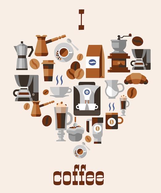コーヒーのコンセプトが大好き 無料ベクター