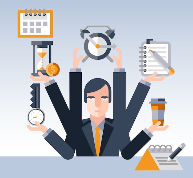 時間管理の実業家 無料ベクター