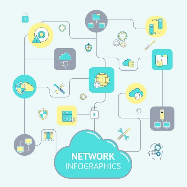 ネットワークとサーバーのインフォグラフィックテンプレート 無料ベクター