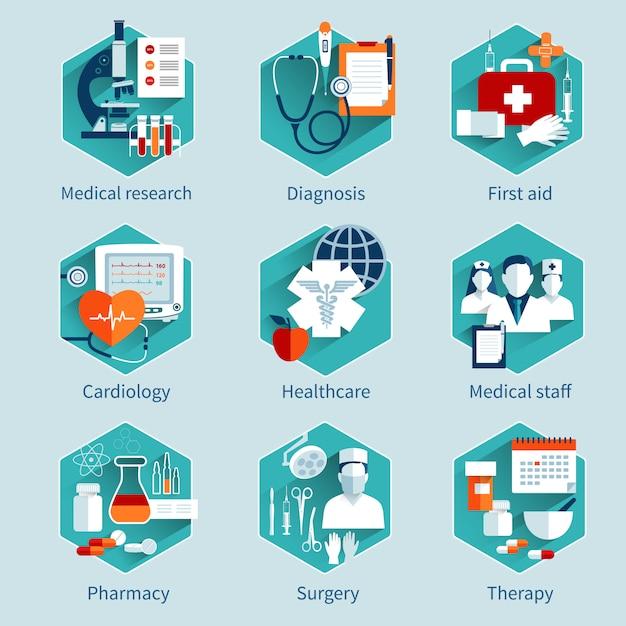 Набор медицинских концепций Бесплатные векторы