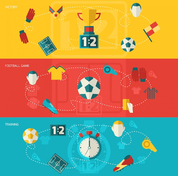 Состав футбольных элементов плоский Бесплатные векторы